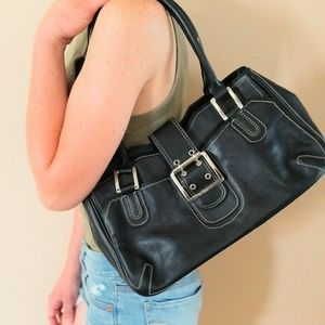 BCBG Black Leather Shoulder Bag W Buckle